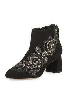 S0FMU Sophia Webster Winona Rose-Embroidered Suede Boot, Black/Rose Gold