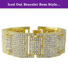 Iced Out Bracelet Boss Style Gold Hip Hop Jewelry. Iced Out Bracelet Boss Style Gold Hip Hop Jewelry. This gold hip hop bracelet is extra wide and shines like a million bucks. Covered in shiny crystals that shine bright and look expensive, yet still affordable. Features a caged back on the links for a more comfortable wear. Gold plated to shine bright. The popularity of gold jewelry keeps growing. Perfect to ice out any mans wrist. Celebrities, rappers, and hip hop artists wear bling…