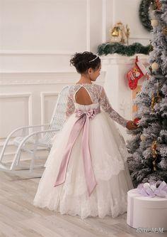 Блеск Vestidos де причастие аппликация кристалл открытой спиной длинными кружевными рукавами с бантом оборками маленькая принцесса рождественские тюль бальное платье купить на AliExpress