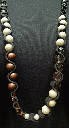 Annie Costello Brown Mixed Snake Double Wrap Necklace