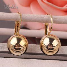 New 1Pair Small Imitate Spherical Ball Dangle Fashion Earrings Gold plated Long Earring Drop Shipping(E0275)
