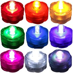 Pick and Choose your OWN Color combo of Tea Lights!  (1) SINGLE LED SUBMERSIBLE Wedding CENTERPIECE Decoration Party Tea Lights Vase