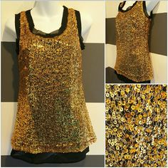 """💋LAST 1💋Classy Gold Sequin top NWT It's Party time and this top says """"Party"""" all over it!! Gold sequins cover this top, neckline and sleeve caps are trimmed with unhemmed sheer black material,at the bottom the sheer black material shows to add detail. Pair this fabulous top with our black leggings!!   Brand new crop Size small Scoop neckline, Sheer black lining, Gold sequin material on top 100% polyester Tops Tank Tops"""