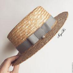 """Купить Шляпка """"Канотье"""" светло-серый - однотонный, серый, бежевый, соломенная шляпа, канотье"""
