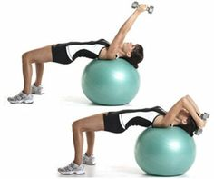 Swiss ball lying triceps extension - french press