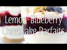 When you're craving cheesecake but don't feel like turning on the oven, whip up these impressive-looking, lightened up, layered parfaits instead. Double or triple the recipe to make cute and colorful individual desserts that your party guests will love! Lemon Blueberry Cheesecake, Individual Desserts, Party Guests, Desert Recipes, Parfait, Turning, Cravings, Food To Make, Oven