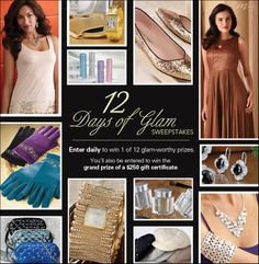 """Enter the Midnight Velvet """"12 Days of Glam"""" Sweepstakes before 11/22. Enter each day to increase your chances of winning one of 12 glam-worthy prizes and get entered in a Grand Prize drawing of a $250 Midnight Velvet gift certificate! EXCITING!"""
