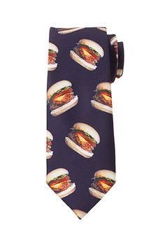 Lmao Burger Print Skinny Tie   21 MEN - 2000078967