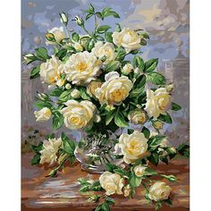Frameless Europe Flower Abstract Diy Painting By Numbers Kits Acrylic Paint Vintage Hand Painted Oil Painting Home Decoration