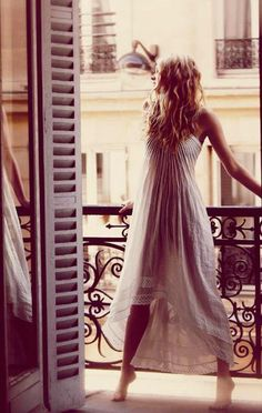 on a balcony - in paris - in my nighty {from the Free People January 2011 Catalog}