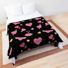 "Black Chic Heart Flirty Print' Comforter by xpressio Cool Black Chic Heart Flirty Print Comforter Cool Black Chic Heart Flirty Print Comforter ""Free Bird"" Comforter by artenvironments"