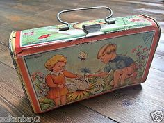 """Vintage Litho Tin Lunch Box – 1950's 1960's – Made in Romania """"AMT"""""""