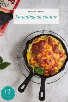 Mamaliga cremoasa cu spanac si mozzarella la cuptor. Spanacul, mămăliga și mozzarella fac echipă buna împreună. Încearcă și tu rețeta și o să te convingi! Mozzarella, Iron Pan, Kitchen, Recipes, Cooking, Recipies, Ripped Recipes, Kitchens, Recipe