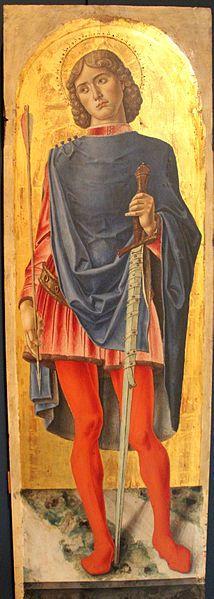 Bartolomeo Vivarini - Polittico di Sant' Ambrogio: San Sebastiano (pannello del) - 1477 - Gallerie dell'Accademia, Venezia