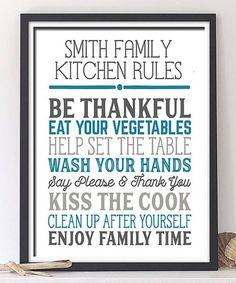 Look at this #zulilyfind! 'Kitchen Rules' Personalized Print #zulilyfinds