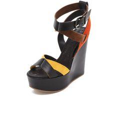 Studio Pollini Multicolor Wedge Sandals ($395) ❤ liked on Polyvore