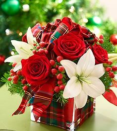 plaid flowers arrangement