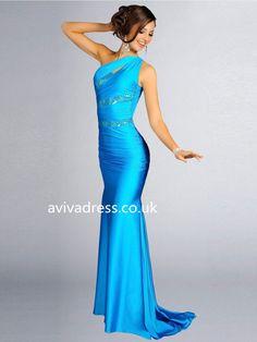 Sheath/Column One Shoulder Elastic Woven Satin Evening Dresses Cheap Prom Dresses Online, Affordable Prom Dresses, Prom Dresses 2016, Blue Dresses, Bridesmaid Dresses, Dress Online, Party Dresses, Women's Dresses, Prom Dress With Train