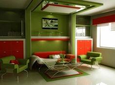 Living Room:Interesting Green Living Room Schemes Popular Living Room Color Schemes That Looks Modern Small Space Living Room, Living Room Red, Living Room Paint, Small Living Rooms, Living Room Modern, Small Spaces, Living Spaces, Living Room Decor Colors, Living Room Color Schemes