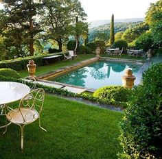 La Piscine - poolside decorating chic French outdoor garden setting beside a pool with finials sculpture urns france luxury summer Beautiful Pools, Beautiful Gardens, Outdoor Rooms, Outdoor Living, Outdoor Decor, Dream Pools, Pool Landscaping, Backyard Pools, Garden Swimming Pool
