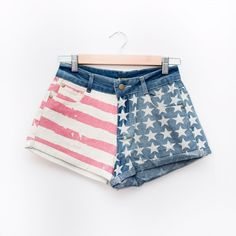 American Flag Shorts Ahh these are so freaking cute!! Mid-rise shorts. PLEASE DO NOT BUY THIS LISTING. Comment with your size when you're ready to purchase and I'll make you a new listing  Shorts Jean Shorts