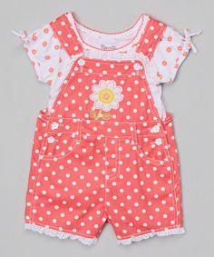 Loving this White Floral Top & Orange Polka Dot Shortalls - Toddler & Girls on #zulily! #zulilyfinds