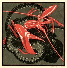 ein-bleistift-und-radiergummi:   Norbertine Von Bresslern-Roth Colour Linocut 'Kampf'1928.