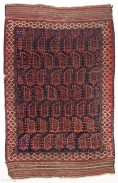 antique baluch rug with an unusual and attractive border. As found, overall mostly decent pile, scattered wear as shown. All good natural colors. Remnant original selvages and fancy long kelim ends. Reasonably  ...
