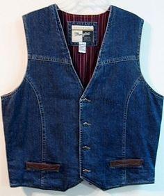 Wrangler Mens Denim Vest XL Western Blue Jean Lined w/ Leather Trim Pockets #Wrangler