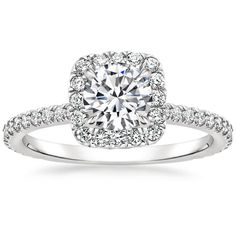 Giselle Diamond Engagement Ring - Platinum. This shimmering halo setting features beautiful scalloped pavé diamonds that wrap around the center gem and adorn the band. A diamond-encrusted gallery makes this ring truly spectacular. Our unique engagement ri Princess Cut Engagement Rings, Beautiful Engagement Rings, Halo Diamond Engagement Ring, Engagement Ring Settings, Square Engagement Rings, Beautiful Wedding Rings, Dream Wedding, Perfect Wedding, Dream Ring