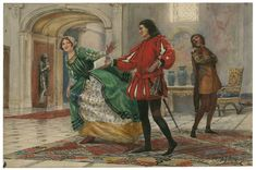 Henry James Haley. Two Gentlemen of Verona, Act II, Scene 1. Watercolor, early 20th century. Folger Shakespeare Library.