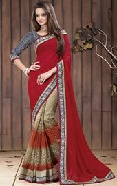 Picture of Luxurious Red and Beige Color Impressive Saree