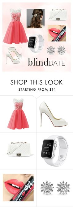 """""""Coral and White - BLIND DATE"""" by kyah-bell ❤ liked on Polyvore featuring Christian Louboutin, Steve Madden, Fiebiger, Kenneth Jay Lane, women's clothing, women, female, woman, misses and juniors"""