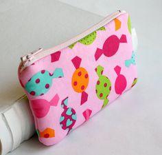 Pink Candy Zipper Pouch Gadget Case Small Coin by SahndaMarieKids, $8.00