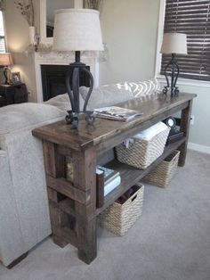 Sofa table to make, though it may be a bit rustic for our decor, I really like it, perhaps in a color rather than stain...