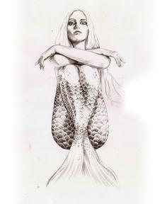 Mermaid with attitude. Sketches & drawings by Torun Mørkeseth Karlsen, via Behance