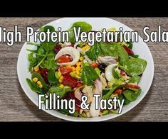Filling High Protein Vegetarian Salad - Tasty on the Go Recipe