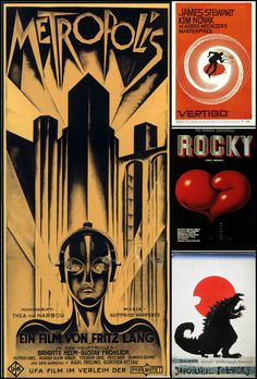 """Heinz Schulz-Neudamma to metropolis in piewotnym, nieplakatowym format (Original 92.7 x 205.7 cm), still the most expensive poster in history  ⬆️ the legendary Saul Bass to """"Black head"""" a. Hitchcock  """"Rocky"""" by Edward Lutczyna.  ⬇️ Richard Kaji to the movie night with the Japanese horror in the lead. Lizards on poster present no need ;)"""