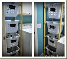 Get dirty laundry off the floor with a laundry tower. How to at Red Hen Home. I already have a laundry sorter, but this would be great for sorting clothes as you take them out of dryer and fold them. Then kids come get their basket and put clothes away.