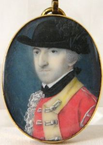"Miniature portrait of an 18th C. British Army officer circa 1777, by John Hill, RA (active 1775-1791). Signed Hill."" Uniform indicates a Light Infantry Officer in the American campaign, probably 15th Regiment Foot. Watercolor on ivory, 1-1/8"" x 1-5/8"", in the original gold locket mounting."