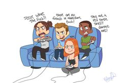Bucky Barnes, Natasha Romanov, Sam Wilson, Steve Rogers playing videogames. All I can imagine is Sam being in the middle of Cap and Bucky in the race. Cap: on your left! Bucky: on your right!