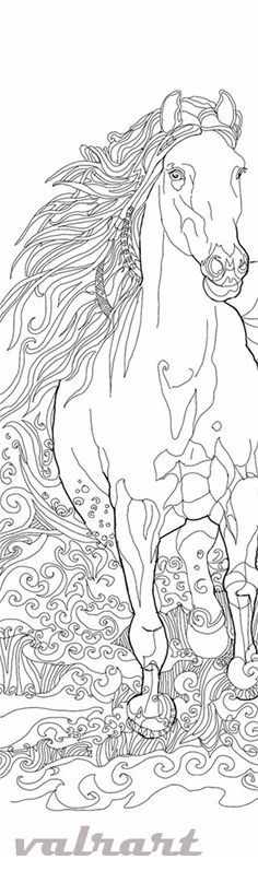 Coloring book Horse Clip Art Hand Drawn Original Zentangle Colouring Page