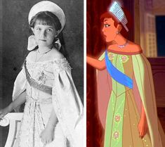 Ansastasia Romanov (foto real) e na animação Princesa Anastasia, Disney Anastasia, Anastasia Movie, Anastasia Romanov, Tatiana Romanov, Disney And Dreamworks, Disney Pixar, Walt Disney, Disney Characters
