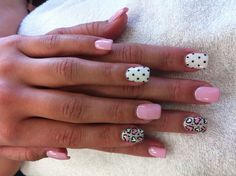 Alicia's nails and toes are this way...pink & white hearts...white with black polka dots...super cute! ^_^