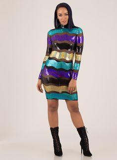 Making Waves Sequined Striped Mesh Dress BLACKMULTI - GoJane.com Latest Fashion Dresses, Latest Dress, Long Sleeve Midi Dress, Making Waves, Mesh Material, Mesh Dress, Dress Styles, Special Occasion Dresses, Mock Neck