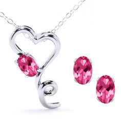 "2.45 Ct Pink Topaz Heart Pendant Earrings Silver Set With 18"" Silver Chain. List Price: $88.00 Price: $24.99 You Save: $63.01 (72%)"
