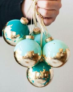 Gold leaf and mint ornaments
