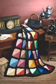 Love this Crocheted Granny Square quilt
