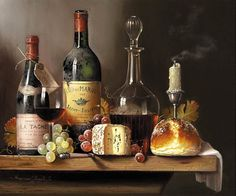 Raymond Campbell painting. Wine, cheese, bun and some grapes