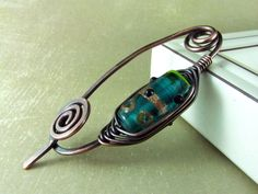 Wire Shawl Pin Copper Brooch Scarf  Sweater Pin Turquoise and Copper Fibula Wire Wrapped Jewelry. $22.00, via Etsy.